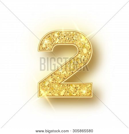 Gold Glitter Alphabet Numbers 2 With Shadow. Vector Realistick Shining Golden Font Number Two Of Spa