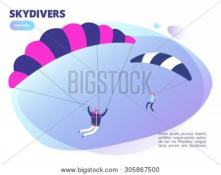 Cartoon Skydivers Vector Background Web Page. Skydiving Illustration. Extreme Skydiving, Activity Sk