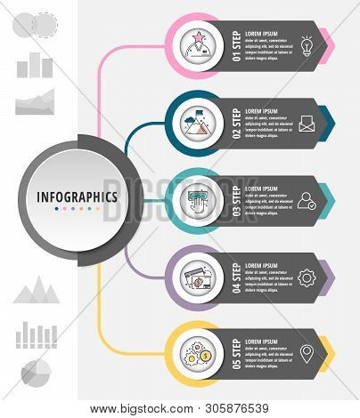 Vector Modern Flat Illustration. Infographic Template With Elements, Circles, Text. Designed For Bus