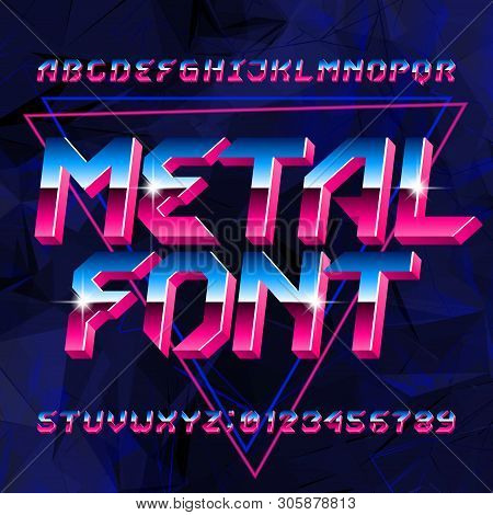 80s Metal Alphabet Font. Letters, Numbers And Symbols On Abstract Background. Stock Vector Typescrip