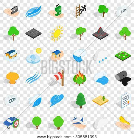 Calamity Icons Set. Isometric Style Of 36 Calamity Vector Icons For Web For Any Design