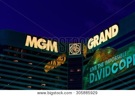 Las Vegas - Circa June 2019: Mgm Grand Hotel Exterior With A Banner For David Copperfield. The Mgm I
