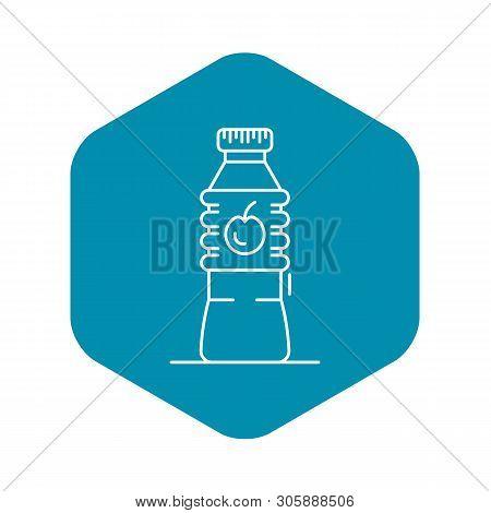 Plastic Bottle Apple Vinegar Icon. Outline Plastic Bottle Apple Vinegar Vector Icon For Web Design I