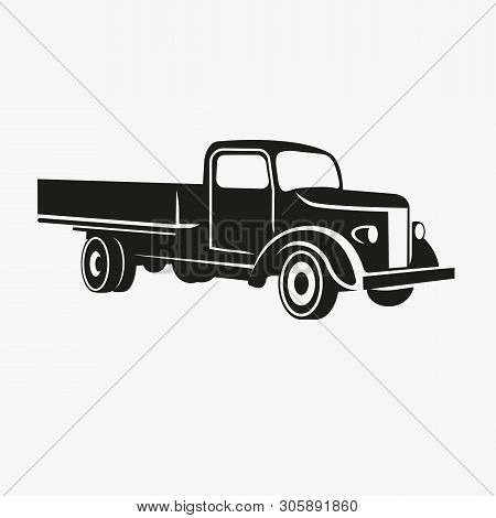 Old Retro Truck Vector Illustration. Vintage Transport Vehicle Icon