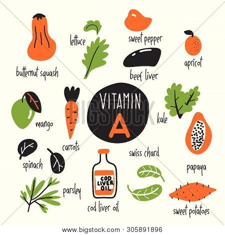 Funny Vector Caroon Illustration Of Vitamin A Rich Foods.