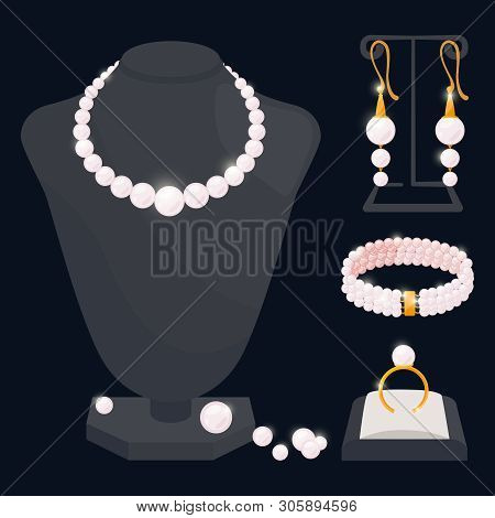 Pearl Jewerly Vector Collection - Necklace, Earrings, Ring And Bracelet. Jewelry Necklace, Ring And