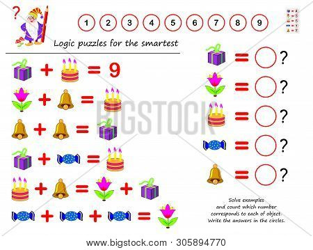 Mathematical Logic Puzzle Game. Solve Examples And Count Which Number Corresponds To Each Of Object.
