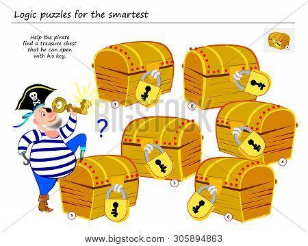 Logic Puzzle Game For Smartest. Help The Pirate Find A Treasure Chest That He Can Open With His Key.