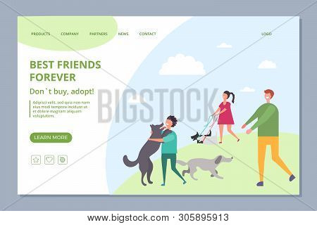 Happy People With Adopt Dogs. Dont Buy, Adopt Vector Landing Page Template. Adoption Dog Or Pet, Ani
