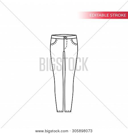 Jeans Thin Line Vector Sketch. Skinny Jeans Black Outline Drawing, Fully Editable.