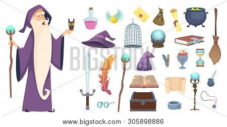 Magician Tools. Wizard Magic Mystery Broom Potion Witch Hat And Spell Book Vector Cartoon Pictures.