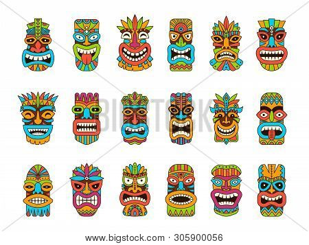 Tiki Masks. Tribal Hawaii Totem African Traditional Wooden Symbols Vector Colored Mask Illustrations
