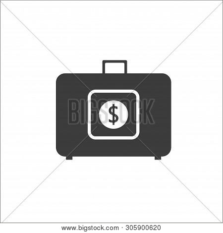 Suitcase Money Vector Illustration In Flat Style, Suitcase With Money Concept. Business Illustration
