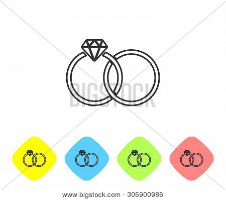 Grey Wedding rings line icon isolated on white background. Bride and groom jewelery sign. Marriage icon. Diamond ring. Set icon in color rhombus buttons. Vector Illustration poster