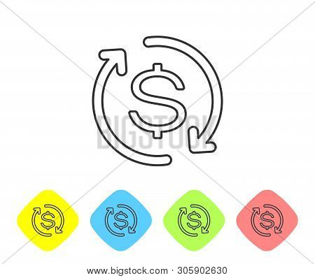 Grey Return Of Investment Line Icon Isolated On White Background. Money Convert Icon. Refund Sign. D