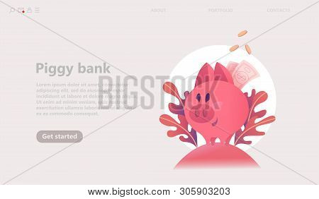 Pig Piggy Bank Concept. Pink Coin Box,   Save Money. Modern Bright Isolated Illustration Web Banner