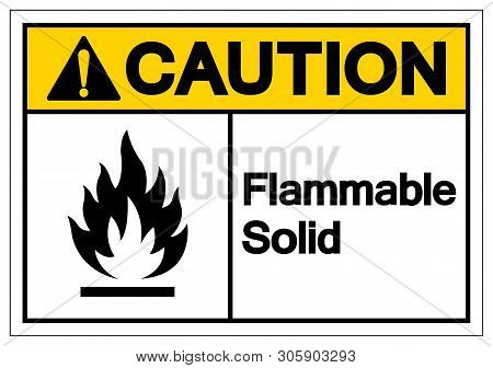 Caution Flammable Solid Symbol Sign ,vector Illustration, Isolate On White Background Label .eps10