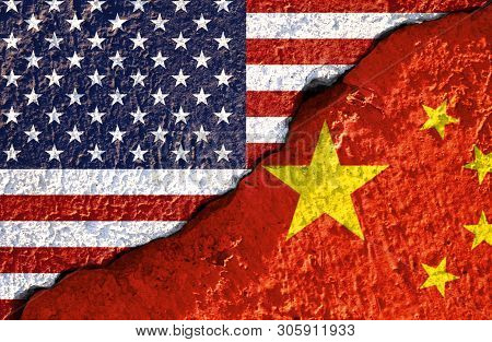 Closeup Crack Of Usa Flag And China Flag .it Is Symbol Of Tariff Trade War Crisis Between United Sta
