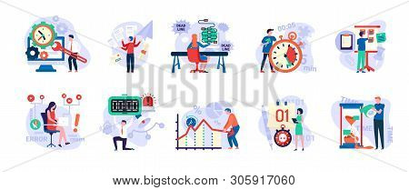 Time Management Vector, People With Clock And Timers, Man In Hurry, Sand Glass And Running Clock, Sc