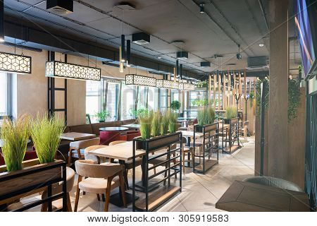 Minsk, Belarus - April 26, 2019: Interior Shot Of Stylish Restaurant