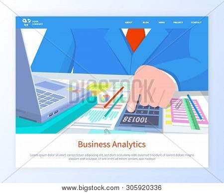 Business Analytics Web, Closeup View Of Worker Hand Counting On Calculator, Paper With Diagram And C