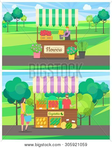 People Selling On Market Vector, Set Of Salesperson With Products, Vegetables And Flower Business. P
