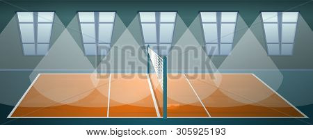 Volleyball Arena Concept Banner. Cartoon Illustration Of Volleyball Arena Vector Concept Banner For