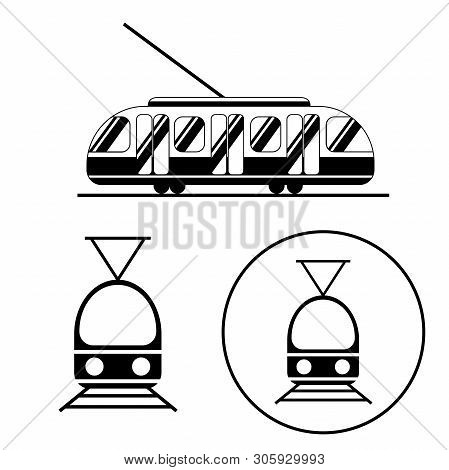 Tram Icons Black And White Set. Public Transport From The Side And Straight From The Front. Logo For