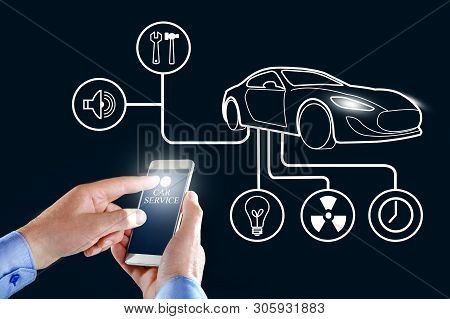 Smartphone Application To Control The Smart Car By Internet. Car Monitoring System. Hand Holding Sma