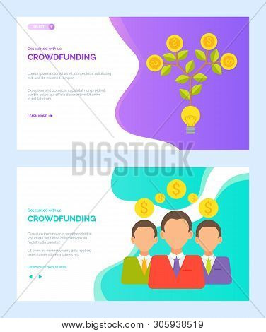 Crowdfunding Vector, People With Money Businessman Wearing Suits With Ties, Tree Growing With Foliag