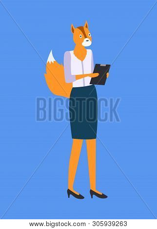 Woman With Fox Or Squirrel Head And Tail, Holding Folder Isolated On Blue. Vector Hipster Animal, Me