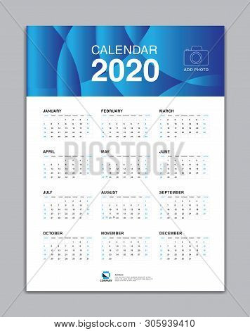 Calendar 2020 Template, Wall Calendar 2020 Vector, Desk Calendar Design, Week Start On Sunday, Plann