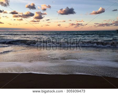 Sunset Waves And Amazing Landscape Ocean.