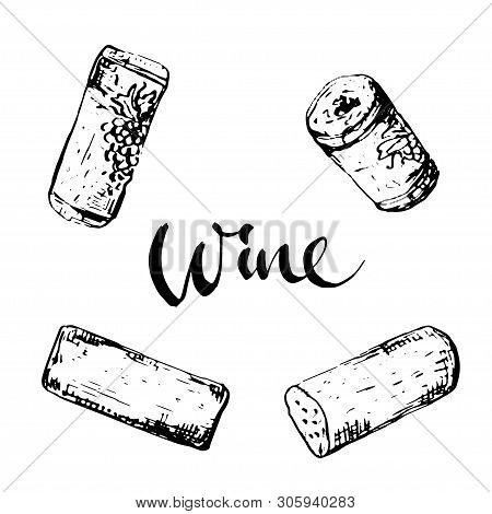 Set Of Wine Corks In Different Position And Lettering, Isolated Illustration Black On White
