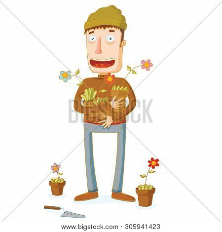 Illustration Of A Gardener And Some Flowers In Pots