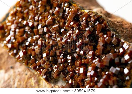 Macro Mineral Stone Vanadinite On A White Background Close Up