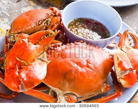 Steamed sea crab with chilli spicy sauce poster