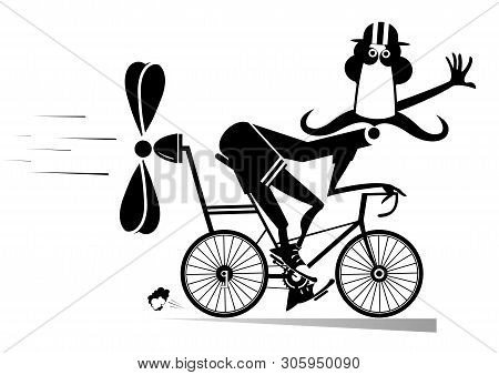 Cartoon Man Rides A Bike Isolated Illustration. Smiling Long Mustache Man In Helmet On The Bike Trie