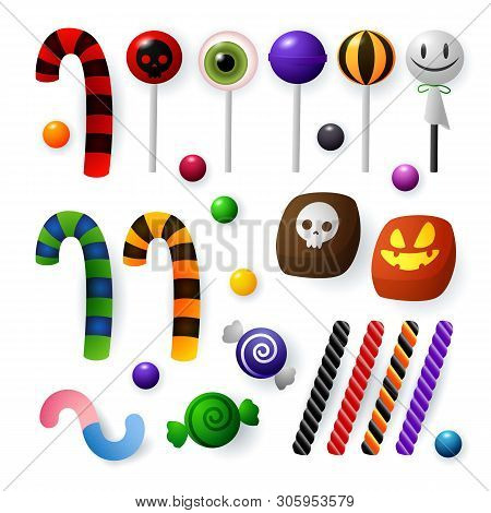 Candies And Sweets For Halloween Celebration. Lollipop, Liquorice And Toffee With Canes. Can Be Used