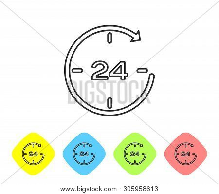 Grey Clock 24 hours line icon isolated on white background. All day cyclic icon. 24 hours service symbol. Set icon in color rhombus buttons. Vector Illustration poster