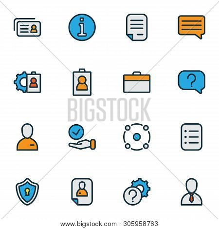 Work Icons Colored Line Set With Resume, Job Seeker, Contract And Other Inform Elements. Isolated Ve
