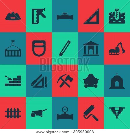 Industrial Icons Set With Construction Helmet, Ax With Pickax, Construction Stapler And Other Wooden