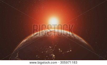 Planet Earth Orbit Zoom In Red Sunlight Radiance. Celestial Navigation Starry Galaxy Background Solar System Outer Space Exploration Concept 3D Animation