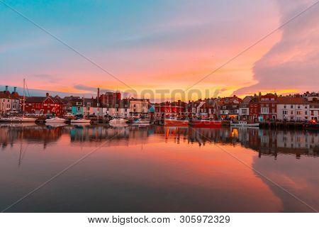 Dorset Weymouth Harbour At Sunset, England, Uk