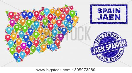 Vector Colorful Mosaic Jaen Spanish Province Map And Grunge Stamp Seals. Flat Jaen Spanish Province