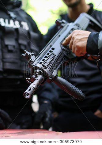 Bucharest, Romania - June 10, 2019: Details Of A Romanian Sias (the Service For Special Action Of Th