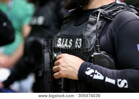 Bucharest, Romania - June 10, 2019: Details With The Uniform And Security Kit Of A Romanian Sias (th