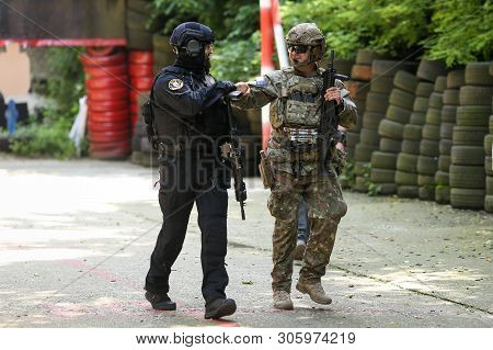 Bucharest, Romania - June 10, 2019: A Romanian Sias (equivalent Of Swat In The Us) Police Officer An