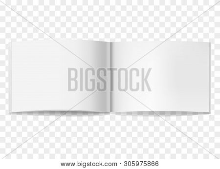Vector Realistic Opened White Blank Book, Journal Or Brochure Mockup. Blank Open Centre Page Spread