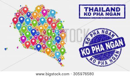 Vector Bright Mosaic Ko Pha Ngan Map And Grunge Seals. Abstract Ko Pha Ngan Map Is Composed From Sca